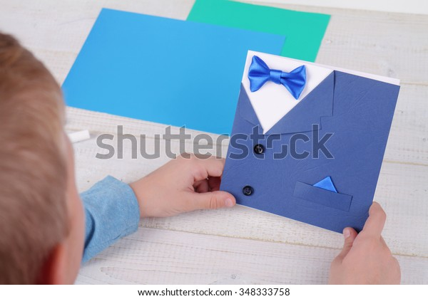 Awe Inspiring Child Making Greeting Card Father Handmade Stock Photo Edit Now Funny Birthday Cards Online Inifofree Goldxyz