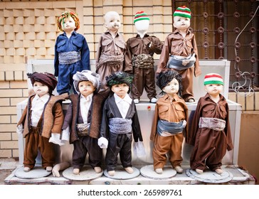 Child mannequins at the traders markets in Erbil wearing Kurdish national dress.