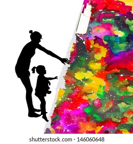 child with mom with colored inks. Raster