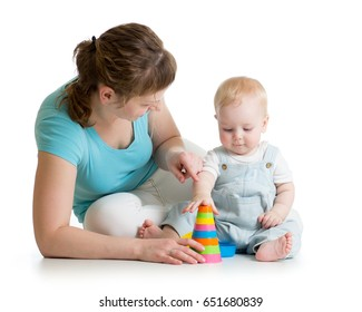 child and mom play with block toys, isolated on white background