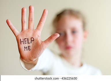 Child need help. Violence concept.