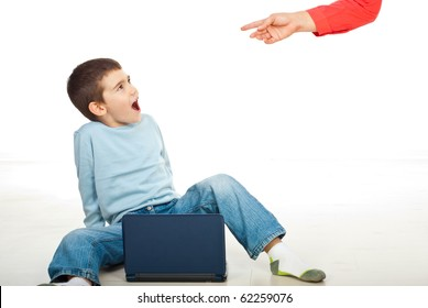 Child is not allowed to use laptop but is surprised by his mother using it and she arguing him