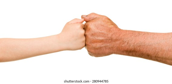 child and old man hands on white