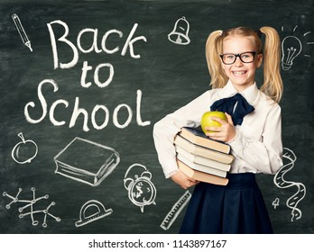 Child on Blackboard Background, Back to School Chalk Drawings on Black Chalkboard, Happy Girl in Glasses Holding Books and Apple