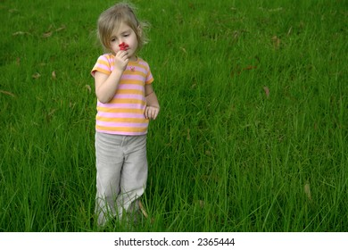 the child on the grass