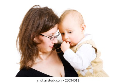 child on the hands of his mom