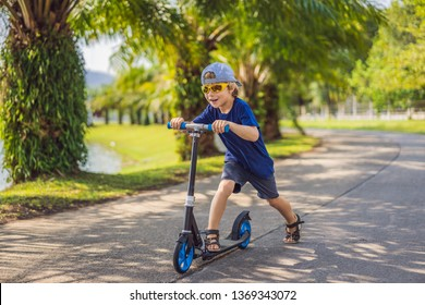 Child on kick scooter in park. Kids learn to skate roller board. Little boy skating on sunny summer day. Outdoor activity for children on safe residential street. Active sport for preschool kid