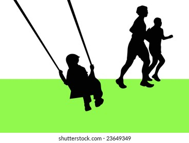 child on swing and couple running in park