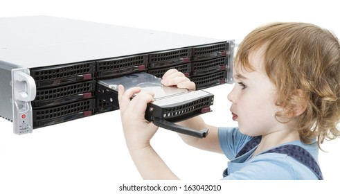 child opening hot swap tray on modern network server. isolated on white background