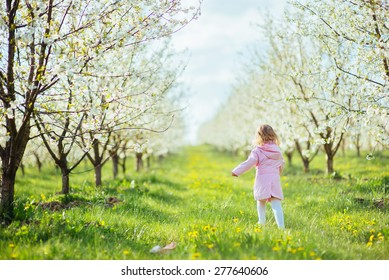 child outdoors in the blossom trees. Art processing and retouching photos special.