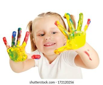 Child painting , isolated on white background