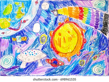 Child pencil drawing. In space. Drawing by my son.