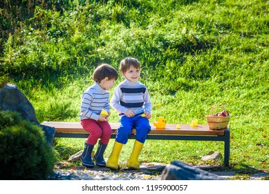 Child picking apples on a farm in autumn. Siblings pick fruit in a basket. Little kids brothers Sitting on wooden bench play with rubber ducks. Outdoor fun for children. Healthy nutrition.