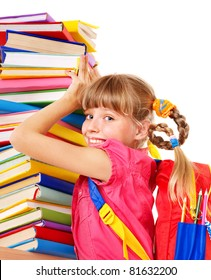 Child with pile of books. Isolated.