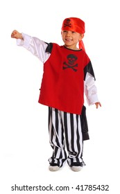 Child play acting a Pirate on white background