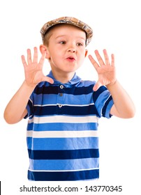 Child play with a cloth cap, white background