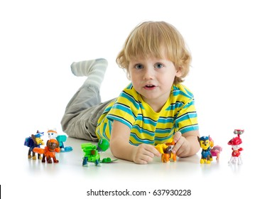 Child playing with animals toys isolated on white background