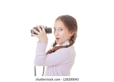 child playing with binoculars spying
