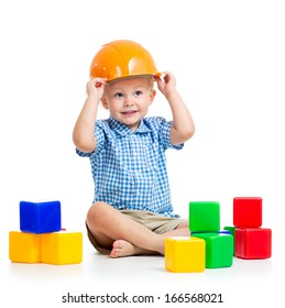 child playing with building blocks toy