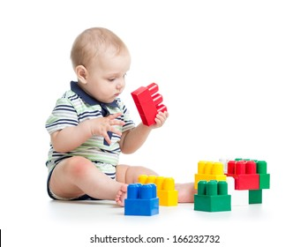 child playing construction set