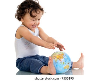 Child playing with globe,isolated on a white background.