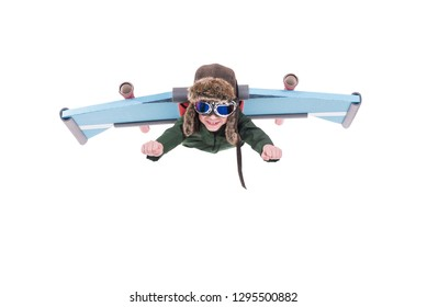 Child playing an interesting game and flying with aviator glasses and cap, Isolated on white background