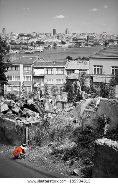 Child playing, Istanbul Turkey