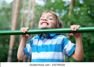 Child playing sports outdoors
