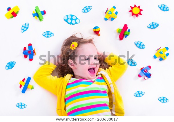 Child Playing Wooden Airplanes Preschooler Kid Stock Photo Edit Now