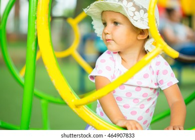 A child plays on the playground