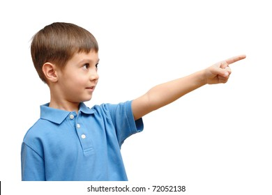 Child pointing his finger isolated on white background