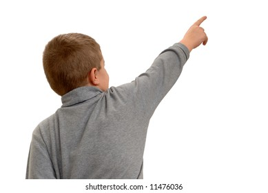 Child Pointing Into White Space