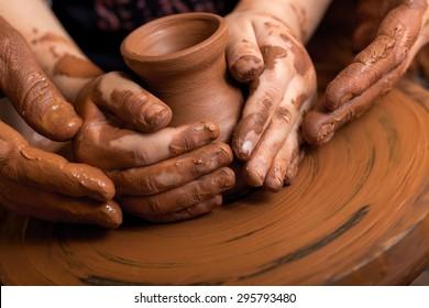 Child, Pottery, Assistance.