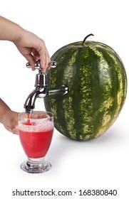 Child pours watermelon juice