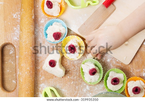 Child preparation of baking background