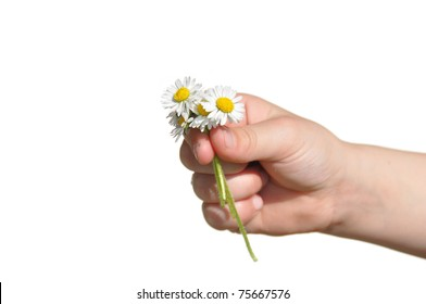 Child presents self picked flowers to parent