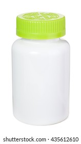 Child proof pill bottle with green safety caps. Isolated on white background with clipping path