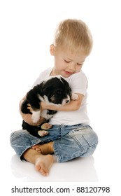 The child with a puppy