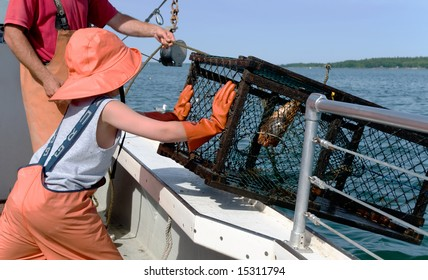 Child Pushing Lobster Cage