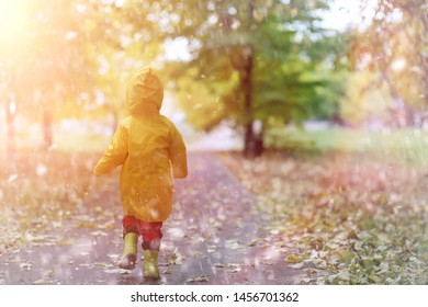 A child in a raincoat for a walk outside in autumn day