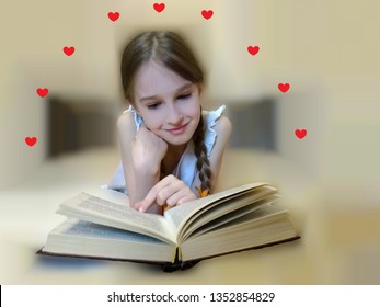 Child reads a novel. A young girl enjoys reading a romance novel. Romantic expression.