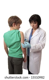 A child receives a vaccination from a doctor