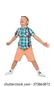 The child rejoices spread wide his arms and legs - Isolated on white background