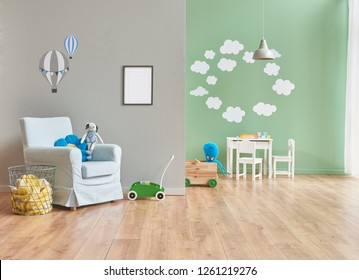 Child room, green wall background, frame and picture style.