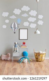 Child room interior, grey wall background, frame picture, toy and lamp.