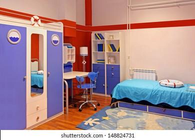 Child room interior with marine theme
