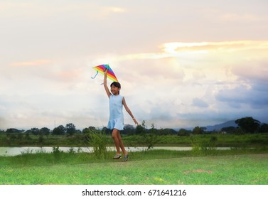 child run on meadow with a kite in the summer on the nature