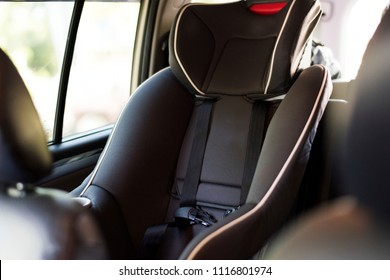 Child safety seat in the back of the car