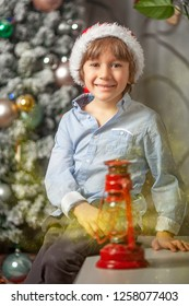A child with a Santa Claus hat and a magic dust