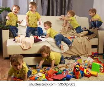 Child scattered toys. Children's room. Mess in the house. a lot of children, Madness in the children's room. children jumping on couch